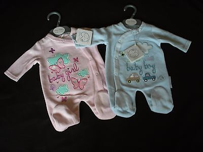 Premature  Baby Clothes Tiny sleepsuit  Boy Girl pink blue  3-5lb 5-8lb newborn