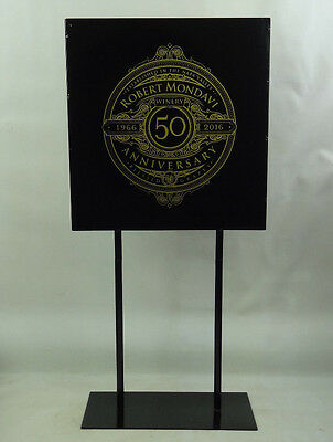 Robert Mondavi Winery 50 Anniversary Metal Black Sign Reversible