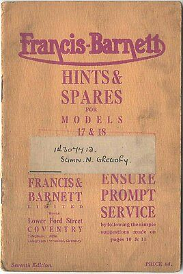 Francis Barnett Hints and Spares for Models 17 and 18 7th Ed No Date