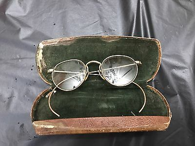 Antique 10k SOLID GOLD SPECTACLES EYE GLASSES 10k Prescription with case