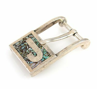 Mexican Sterling Silver Abalone Shell Chip Inlay J Initial Buckle Mexico | RS BX