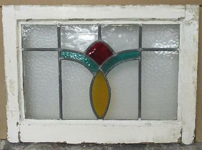 "OLD ENGLISH LEADED STAINED GLASS WINDOW Beautiful Abstract 21.25"" x 15.5"""