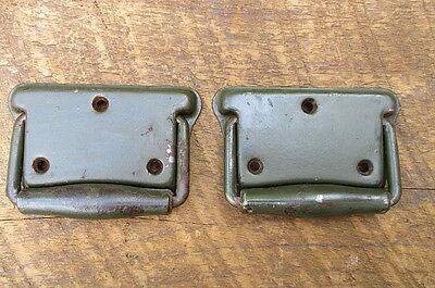 2 Tool Box Trunk Drop Handles Pulls Used Weathered Rustic Green Paint Stanley