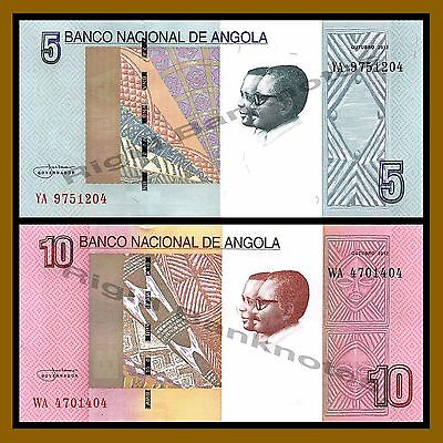 Angola 5 & 10 Kwanzas 2 Pcs Set, 2012 (2017) P-New Unc