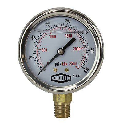 "Water and Air Pressure Gauge New 1/4"" Brass BSPT Thread 0 - 350psi / 2,500kpa"