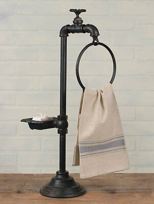 Industrial Plumbing Spigot Soap and Towel Holder Country Cottage Cast Iron Pipes