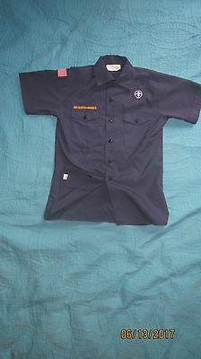 BSA CubScout Blue Uniform Shirt Youth Large SS Made in USA 65%Poly/35%Cotton