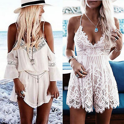 Womens Holiday Mini Playsuit Party Jumpsuit Summer Beach Casual Romper Dress