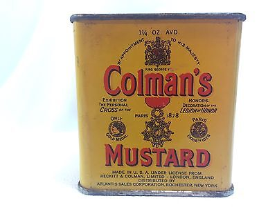 RARE VINTAGE COLMAN'S MUSTARD ADVERTISING SPICE TIN ~ Contains Product