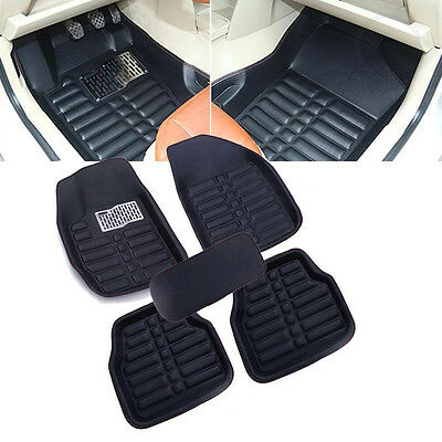 5Pc Black Universal Car Floor Mats FloorLiner Front&Rear Carpet All Weather Mat