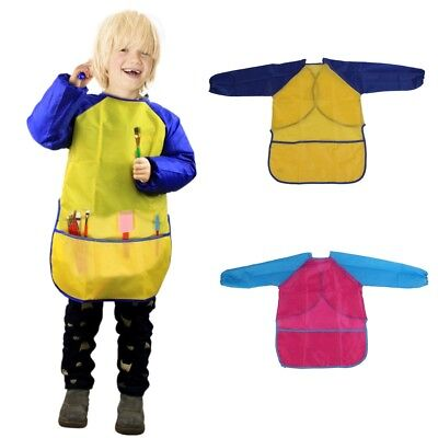 Children-Kids-Long-sleeved-Art-Smock-Cooking-School-Craft-Painting-Drawing