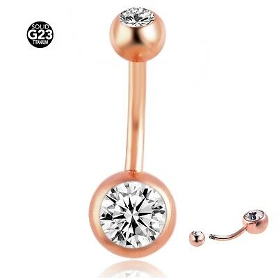 Titanium Navel Rings Rose Gold Sexy Belly Button Crystal 14g Body Bar Piercings
