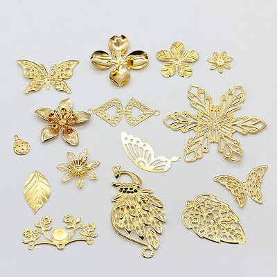 Filigree Gold Metal beads pendants connector for jewelry making multi size&shape