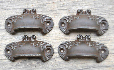 VTG Victorian Cast Iron Floral Cabinet drawer Bin Pull Cup handle Farm Deco 2.7""