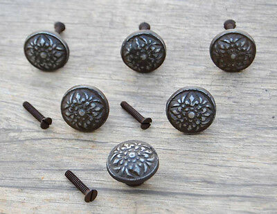 VTG Victorian Floral Cast Iron door cabinet drawer Knobs handles pull rustic