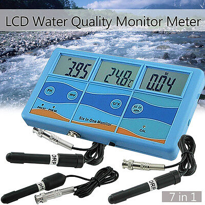 7 In 1 Digital Water Quality Test Monitor Meter PH ℃ ℉ ORP EC CF TDS Tester Pool