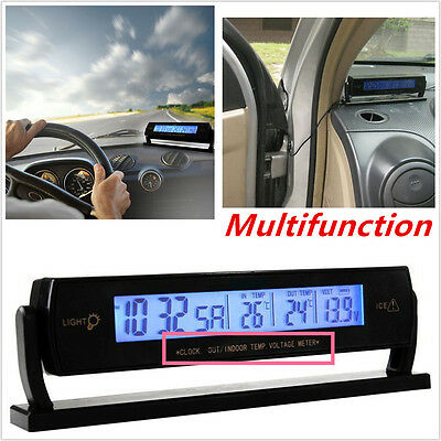 Multifunction Temperature Voltage Clock Digital LCD Thermometer Meter Monitor