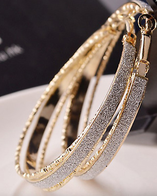 New Attractive Crystal Round Gold Filled Band Hoop Earrings