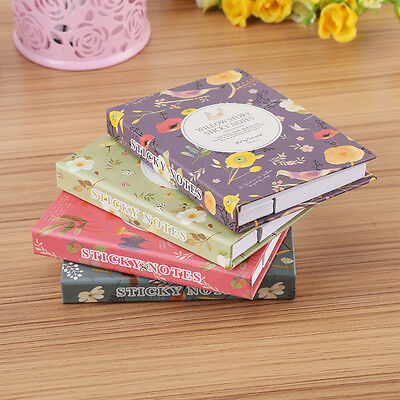 Creative Stationery Hardcover Flower Notebook Diary With Colorful Sticky Notes