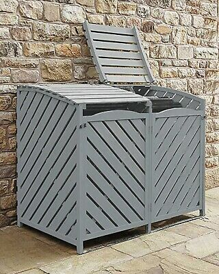 Wooden Wheelie Bin Store Storage Grey Garden Storage Lockable Rubbish Cover