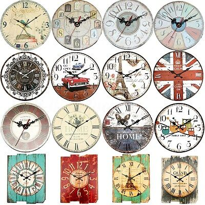 Vintage Antique Rustic Shabby Chic Wall Clock Home Room Bedroom Decor Gift Art