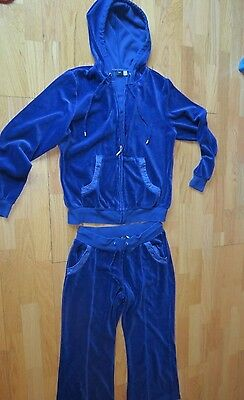 Vintage Saks Fifth Avenue Sport Blue Velour Track Suit Warm Up Xl Jacket L Pants