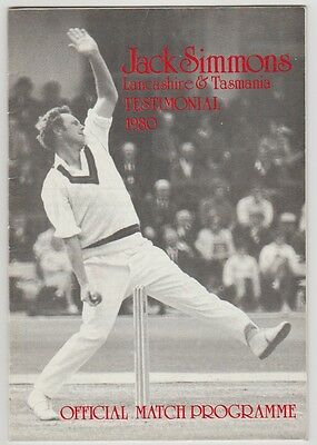 Jack Simmons Lancashire Cricketer 1980 Official Testimonial Prog Hand Signed