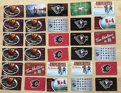 Lot 30 Tim Hortons Canada Gift Cards NHL Coffee Hitmen Flames Cfl Stampeder Flag