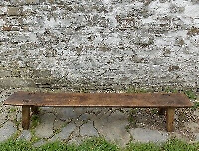 "Antique Georgian Welsh long ELM PIG BENCH 5ft 9"" seat side hall table"