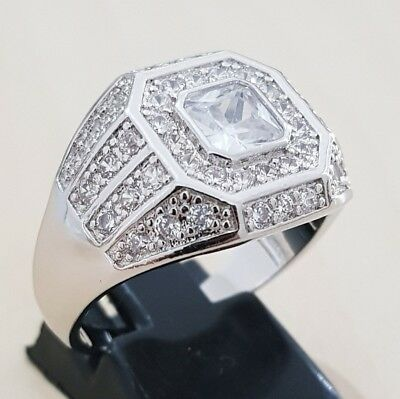 UK Mens Lab diamonds bling hip hop micro paved chunky iced out gold plated ring