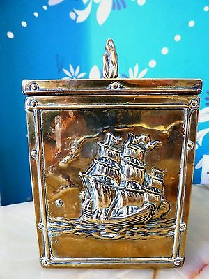 Vintage Brass Covered Tea Caddy With Ship Hand Embossed Decoration