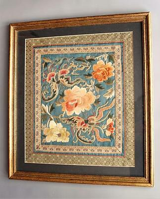 Chinese Silkwork Panel Butterfies and Blossom Framed