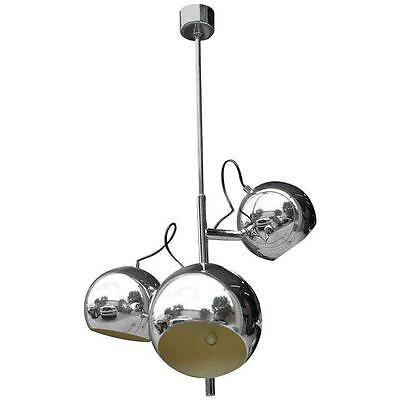 French Mid Century Modern 3 Light Chrome Ball Chandelier / Fixture Circa 1960s