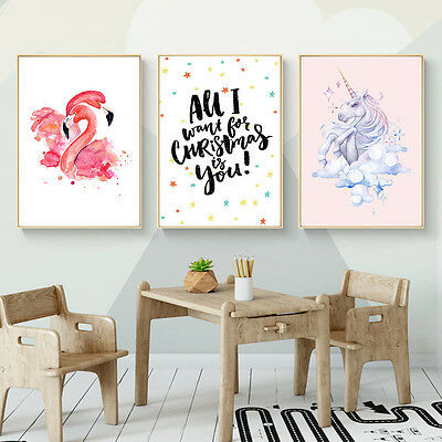 Watercolor Flamingo Unicorn Canvas Art Poster Prints Kids Room Decoration