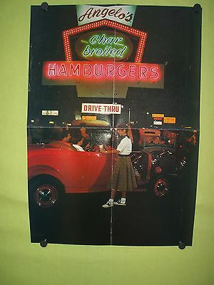 1980's double sided poster.Custom motorcyle pin up girl & Angelo diner hot rod