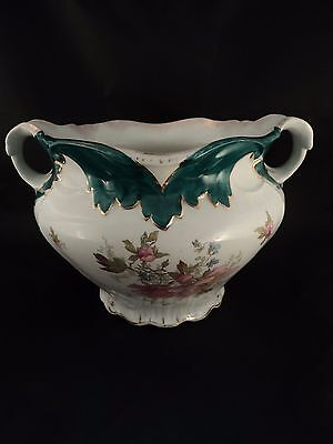 Antique Vintage HP and Transfer Floral Jardiniere Planter Pot Vase Handled