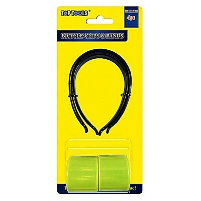 4 Pce BIKE CLIPS / REFLECTIVE ARM BANDS SLAP WRAP SNAP ON BAND HI-VIZ BICYCLE