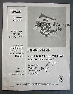 1984 Sears Craftsman Circular Saw Double Insulated Owner Manual Model 315.10961