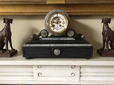 Henri Marc 8 day marble mantel clock with strike. Serviced, 2 new springs