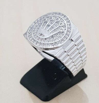 9K White Gold Plated silver Ice Out Micro Pave CZ Mens Hip hop pinky Rings