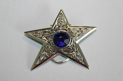 Silver Star With Blue Stone Scarf Clip
