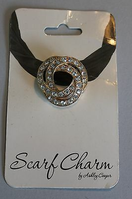 Scarf Charm/clip By Ashley Cooper With Rhinestones - Nwt - New Old Stock