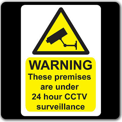 CCTV 24hr Surveillance Warning Stickers Sign - Car Taxi Home Window In Operation