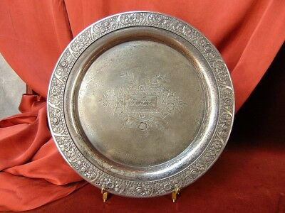 "1896 WILCOX Silver Quadruple Plate 11"" Ornate Charger 1890s VICTORIAN CHRISTMAS"
