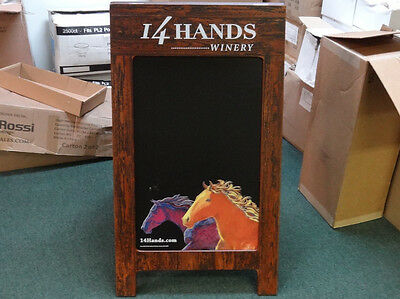 "14 Hands Winery A-Frame Chalkboard Sidewalk Sign Double Sided 39"" x 24"" x 32"""