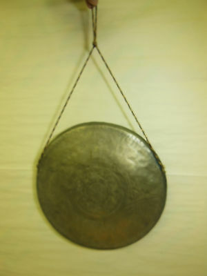 """antique Ceremonial BRASS GONG with engraved Details 12"""" diameter"""