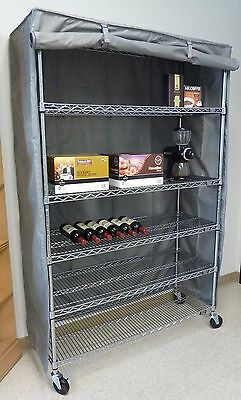 """Storage Shelving unit cover, fits racks 48""""Wx24""""Dx72""""H (Cover Only Grey)"""
