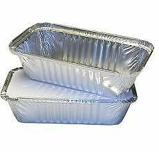 50 x LARGE ALUMINIUM FOIL FOOD CONTAINERS + LIDS No6a by GSL