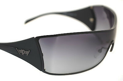 Genuine! POLICE S8826 0531 Mens LARGE Wraparound Sunglasses BLACK GRADIENT GREY