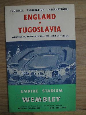 England V Yugoslavia @ Wembley Football Programme 1956 Friendly Match